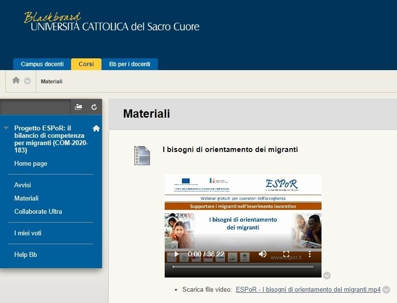 Corso gratuito on-line sul modello di Bilancio di competenze ESPoR